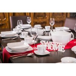 OPERA, Serwis obiadowy - kawowy dla 6 osób 30 elementowe - Lubiana biała porcelana