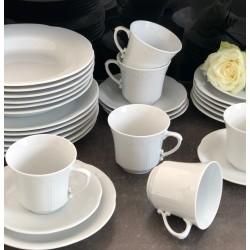 BOSS Serwis obiadowy komplet talerzy dla 6 osób 18 elementów - Lubiana biała porcelana